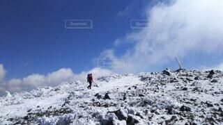 自然,空,冬,雪,屋外,雲,雪山,山,登山,丘,立つ,運動,ハイキング,冒険,山脈,斜面,ウィンタースポーツ,日中,安達太良山,山塊,ハイキング機器