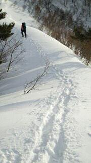雪に覆われた山の斜面の足跡と登る人の写真・画像素材[4144062]