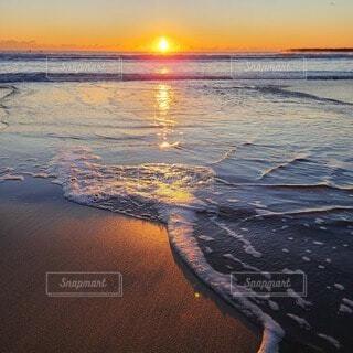 空,太陽,朝日,水面,海岸,正月,日の出,新年,初日の出