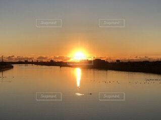 風景,空,屋外,朝日,川,水面,反射,正月,お正月,日の出,新年,初日の出