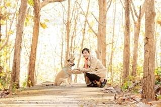 公園にいる犬と女性の写真・画像素材[4157368]