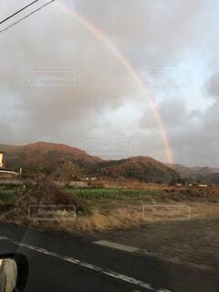 空,屋外,虹,山