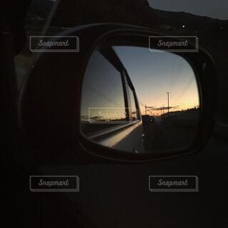 空,夕日,ミラー,自動車用サイドミラー