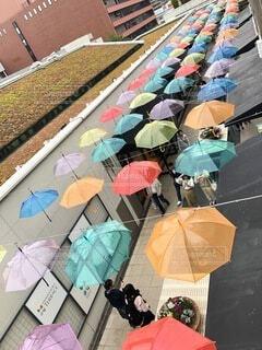 風景,雨,傘,カラフル