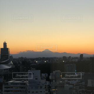 風景,空,建物,富士山,屋外,雲,夕焼け,夕暮れ,山,タワー,高層ビル