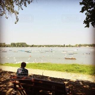 空,屋外,湖,ビーチ,青,ベンチ,川,水面,椅子,樹木