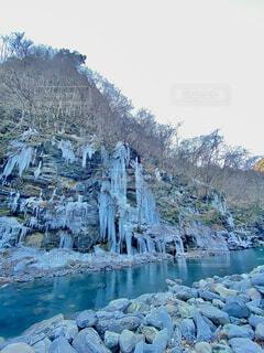 冬,雪,青,水,川,氷,滝,寒い,つらら,秩父,氷柱