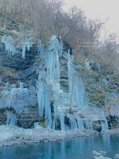 自然,雪,屋外,青,川,水面,氷,滝,絵画,つらら,秩父,氷柱,図面