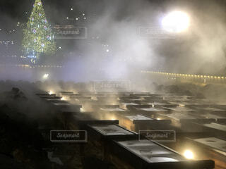 風景,温泉,夜,綺麗,霧,美しい,ライトアップ,癒し,旅行,クリスマス,明るい,草津,湯畑