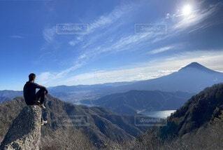 自然,風景,空,富士山,屋外,雲,青,展望,山,景色,登山,ハイキング,山梨県,パノラマ,景観