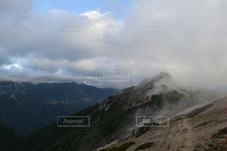 自然,風景,空,森林,屋外,雲,霧,山,景色,長野県,山脈,景観,燕岳,山塊