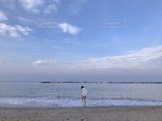 自然,海,ビーチ,雲,青,砂浜,女の子,浜辺,日中
