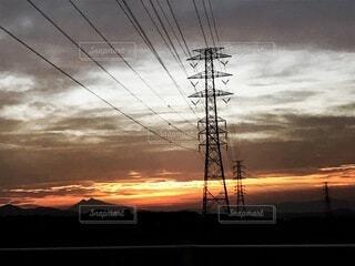 空,屋外,雲,夕暮れ,電線,電気,夕暮れ時,電線路