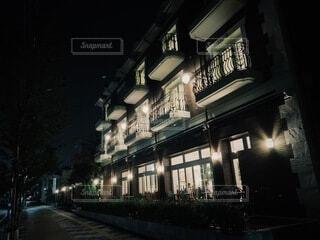 空,建物,夜,屋外,暗い,都会,明るい,通り