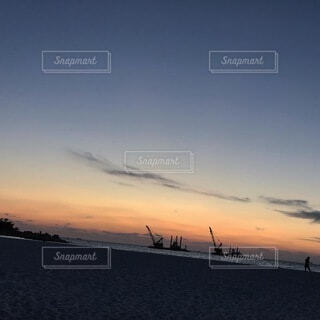 砂浜,夕暮れ,眺め
