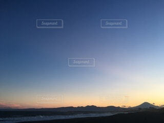 自然,風景,空,富士山,屋外,ビーチ,夕暮れ,水面,海岸,景色,beach,sunset,サンセット,マジックアワー
