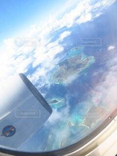 自然,海,空,屋外,白,雲,島,青,飛行機,窓,水面,航空機,地球