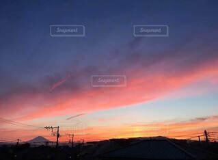 自然,空,富士山,屋外,ピンク,赤,青,夕焼け,夕暮れ,夕方,オレンジ,日の出,sunset,日の入り,サンセット,マジックアワー,グラデーション