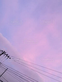 空,屋外,ピンク,雲,夕焼け,紫,夕方,sunset,サンセット,マジックアワー,夕暮れ時