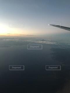 空,雲,飛行機,水面,飛ぶ