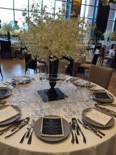花,花瓶,結婚式,テーブル,食器,目玉,テーブルクロス,ワイングラス