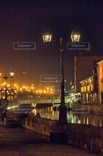 空,春,夜,屋外,水面,都会,小樽,明るい,小樽運河,街路灯
