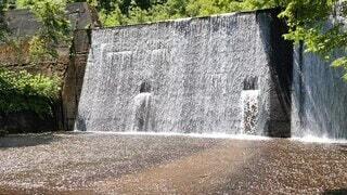 風景,屋外,水面,滝,樹木,噴水,地面,手稲山