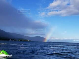 自然,風景,空,屋外,湖,雲,綺麗,虹,水面,展望,景色,パノラマ,景観,日中