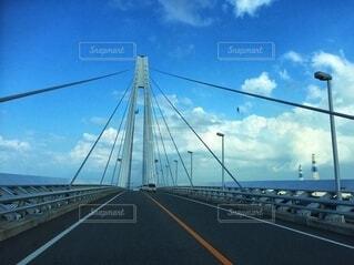 空,夏,橋,屋外,雲,青空,斜張橋,固定リンク