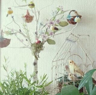 花,春,鳥,草原,かわいい,花瓶,ミニチュア,雑貨,絵本,観葉植物,ディスプレイ,さわやか,草木,物語,インテリア雑貨,白樺ツリー,物語性,とり雑貨,とりの巣,ミニかご