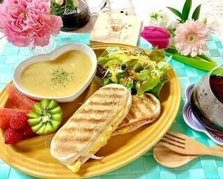 食べ物,朝食,皿,サラダ,サンドイッチ,おうちカフェ