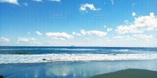 自然,風景,海,空,屋外,ビーチ,雲,青,砂浜,波,水面,海岸,浜辺,日中