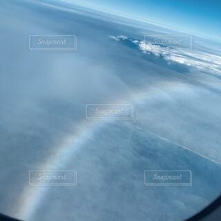 自然,空,屋外,飛行機,虹,窓,窓からの風景