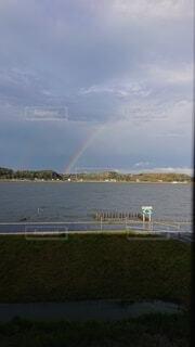 屋外,湖,青,虹,土手,明るい,空中