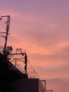 風景,空,屋外,雲,朝焼け,電線路