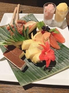 食べ物,花,デザート,テーブル,料理,木目,ハワイアンハイビスカス