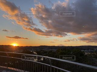 風景,空,公園,富士山,屋外,太陽,雲,夕暮れ,展望台,日の出,日の入り,日落