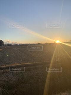 空,屋外,太陽,雲,夕暮れ,虹,田舎,田んぼ,畑,日中