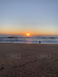 自然,海,空,屋外,太陽,砂,ビーチ,夕暮れ,水面,海岸