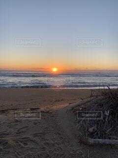 自然,海,空,屋外,太陽,砂,ビーチ,雲,砂浜,夕暮れ,水面,海岸,日の出