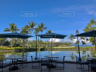 カフェ,海,空,傘,湖,海外,青空,島,青,水面,椅子,テーブル,机,旅行,パラソル,街灯,ヤシの木,ホテル,ハワイ,Hawaii,リゾート,リゾートホテル,ハワイ島,デート,リゾート地,おしゃれ,配置
