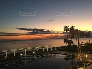 海とプールとヤシの木と夕陽の写真・画像素材[4145706]