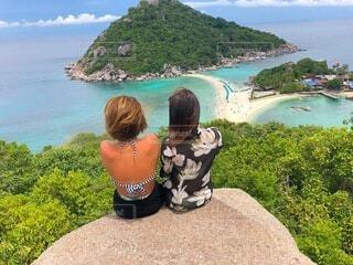 女性,自然,海,空,夏,屋外,ビーチ,晴れ,島,岩,人物,人