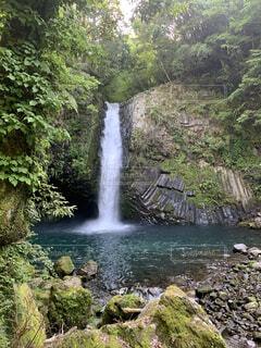 自然,屋外,川,水面,滝,樹木,岩,草木