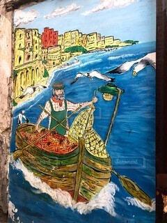 風景,夏,屋外,ボート,船,水面,アート,海岸,壁,絵画,イタリア,港町,漫画,テキスト,水上バイク,図面,プーリア,図,子供の芸術