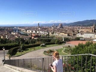 風景,空,建物,屋外,雲,山,景色,樹木,都会,フェンス,イタリア,フィレンツェ,トスカーナ