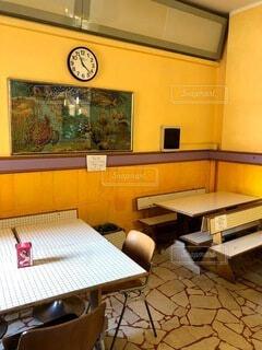 カフェ,屋内,黄色,アンティーク,時計,テーブル,床,壁,レストラン,イタリア,バール