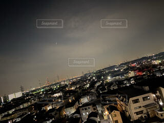 空,建物,夜,屋外,都会,月,高層ビル