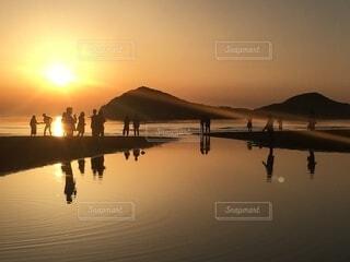 自然,風景,空,屋外,湖,太陽,ビーチ,雲,夕暮れ,水面,反射,日の出