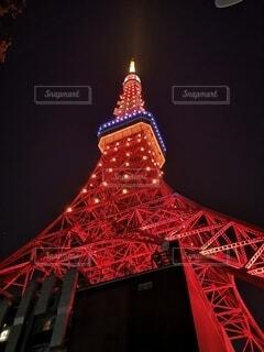 空,東京タワー,夜,夜景,夜空,赤,タワー,ライトアップ,照明,明るい,港区,夜の東京タワー